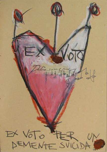 5a ex voto per un demente suicida, 2009 cera e graffite su carta